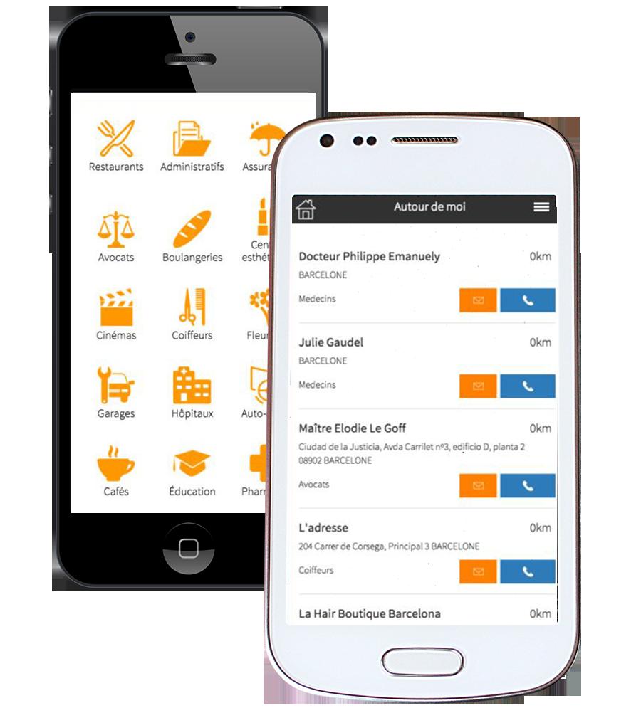 Capture d'écran application Expat by INOV - services francophones en Espagne - Barcelona